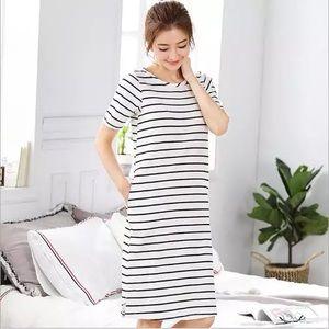 Strip midi long T-shirt cotton dress with pockets